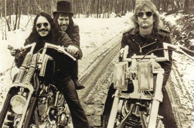 Joe Walsh Dale Peters James Fox on choppers in the snow